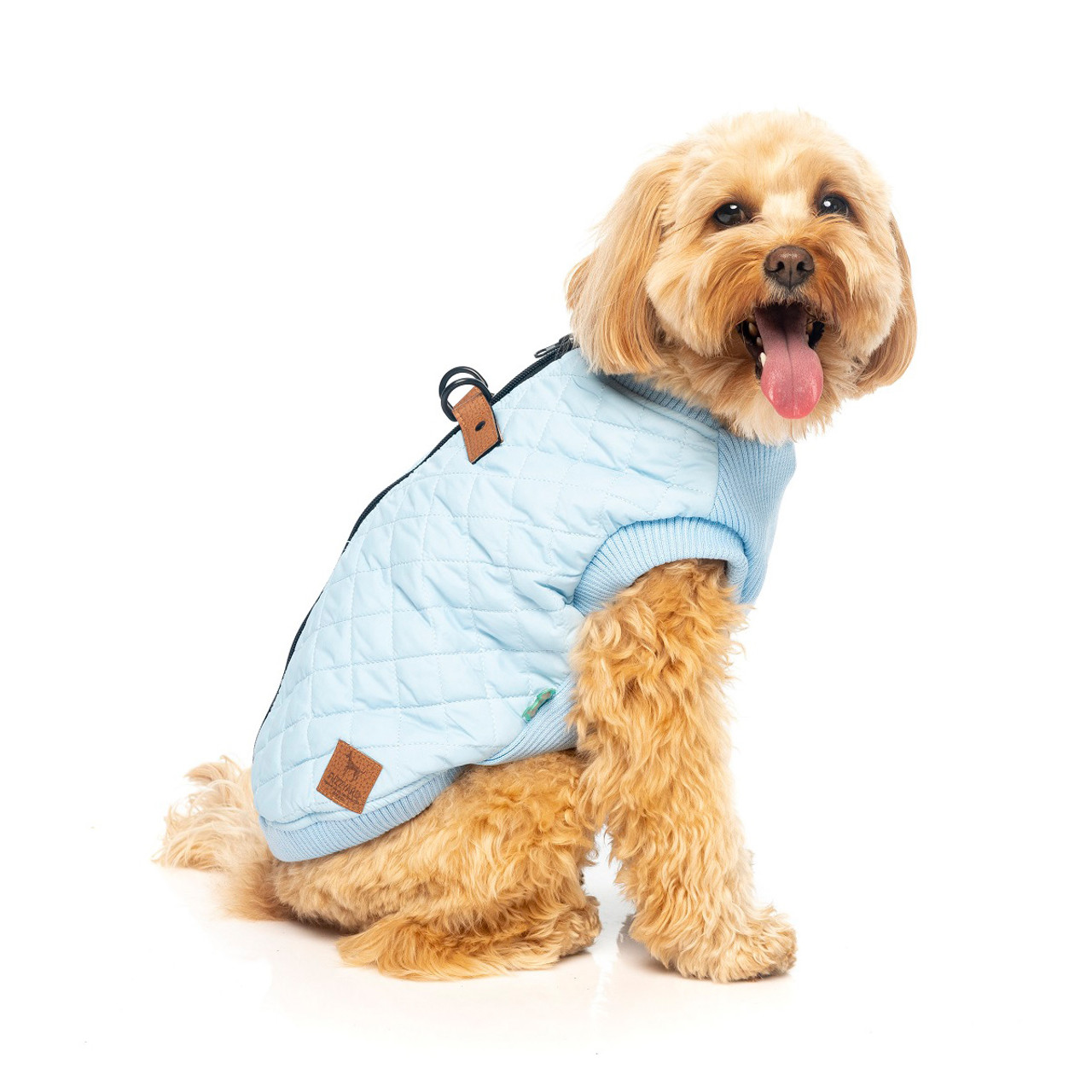 FuzzYard MacGyver Harness Jacket Blue Zip up warm winter dog puppy jacket coat apparel