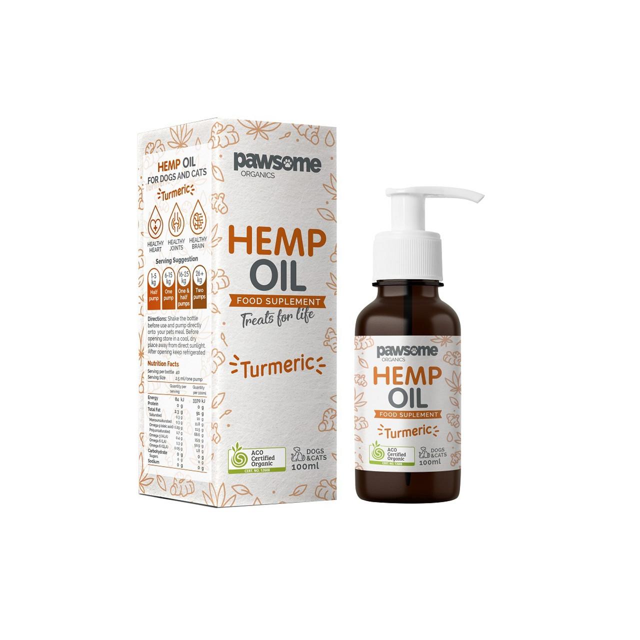Pawsome Organic Hemp Oil & Turmeric 100ml