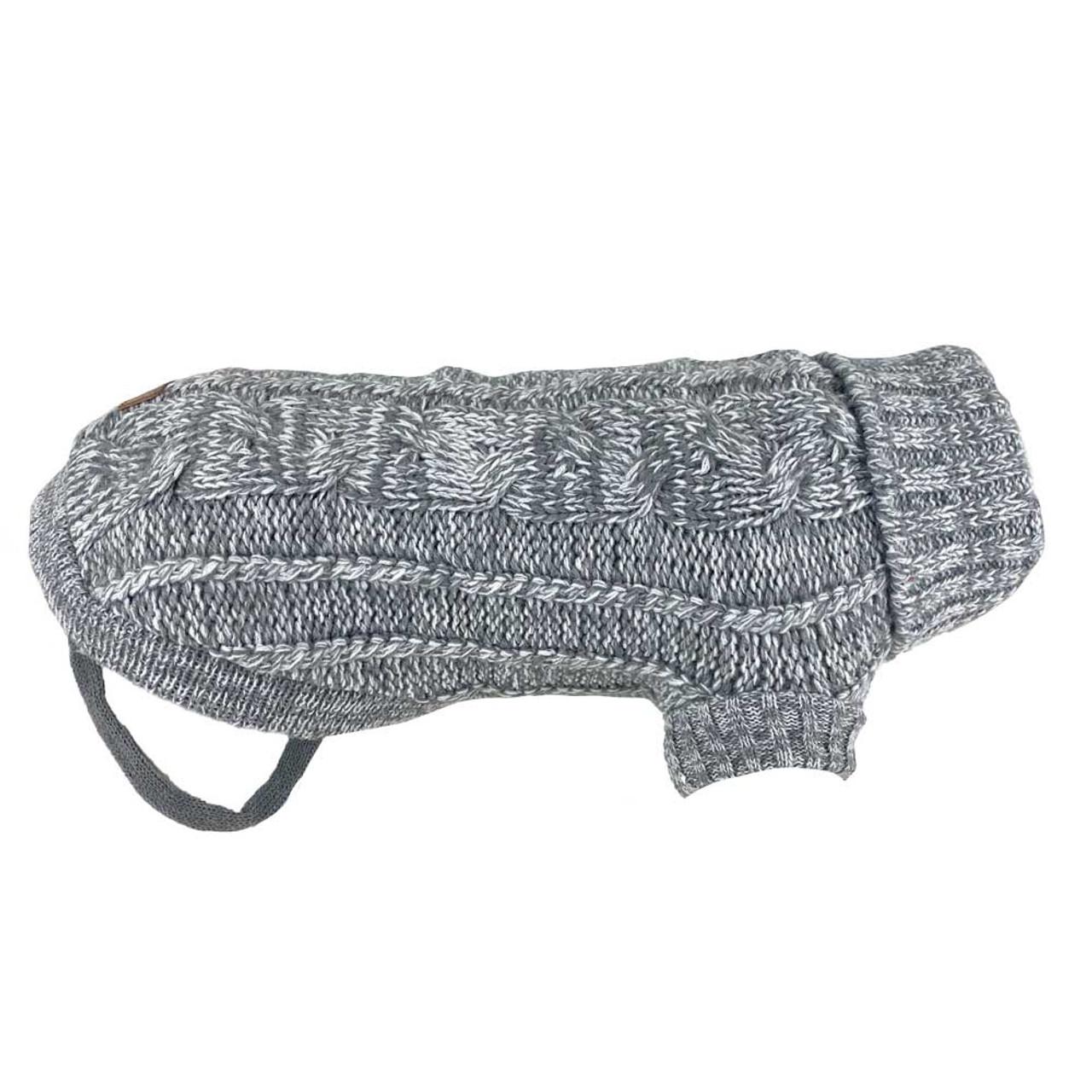 Huskimo Grey Cable Knit Jumper dog puppy winter apparel
