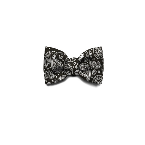 Zee.Dog Paisley black  white Design Dog Puppy collar Bow Tie small