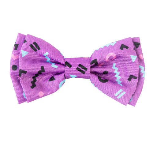 Fuzzyard prince pet purple zig zag design dog puppy collar bow tie