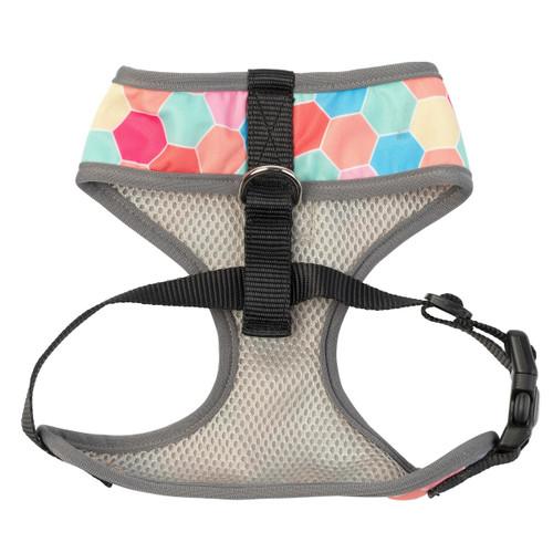 FuzzYard the hive multi coloured hexagon design dog puppy adjustable harness