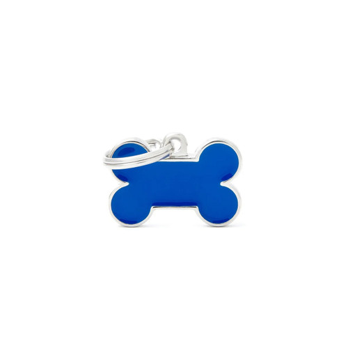 My Family Handmade bone blue dog puppy id tag large
