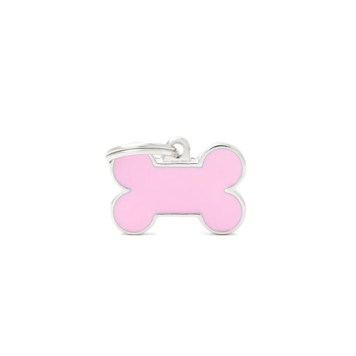 My Family Handmade bone pink dog puppy id tag