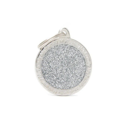 My Family Shine Circle Silver ID Tag