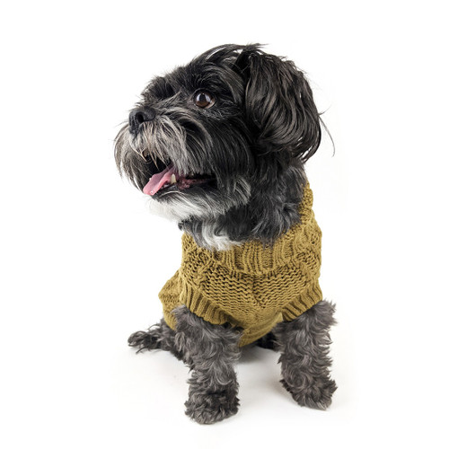 Huskimo Chartreuse French Knit Dog Puppy winter jumper warm apparel