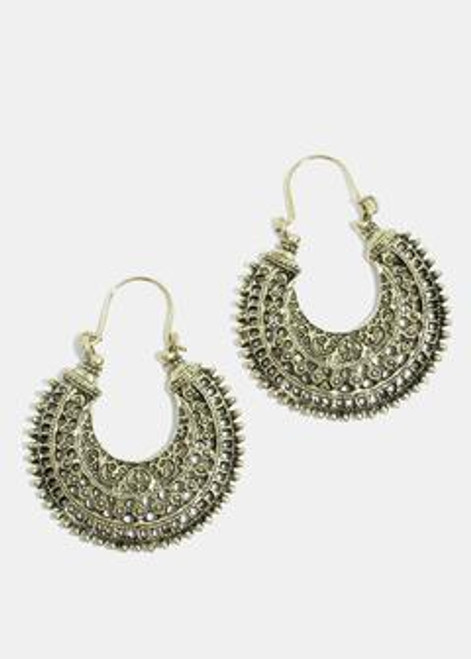 Melody - Antique Semi Circle Earrings - Gold