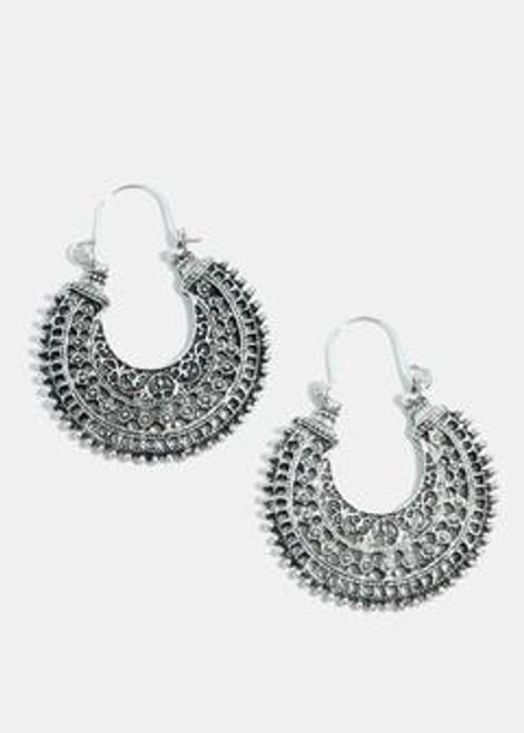 Melody - Antique Semi Circle Earrings - Silver