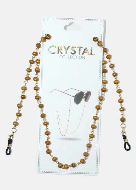 Crystal Collection - Beaded Eyeglasses Strap - Brown
