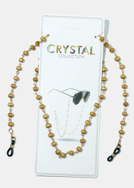 Crystal Collection - Beaded Eyeglasses Strap - Light Brown