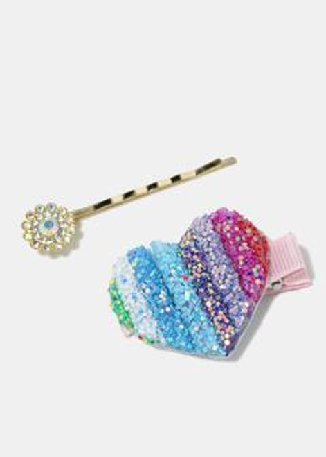 A.J - 2-Piece Flower and Heart Hair Pins