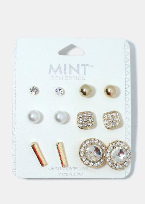 Mint Collection - 6-Piece Multi Design Earrings (Gold)