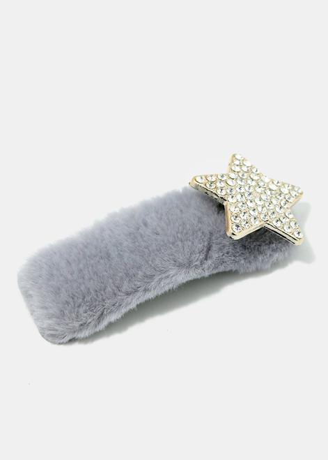 Melody - Rhinestone Studded Star Fuzzy Hair Clip - Grey