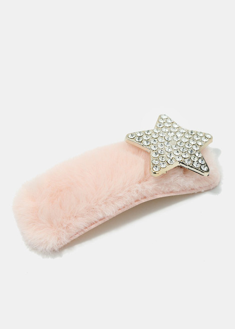 Melody - Rhinestone Studded Star Fuzzy Hair Clip - Light Pink