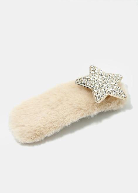Melody - Rhinestone Studded Star Fuzzy Hair Clip - Beige