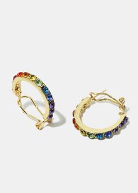 Princess - Multi Color Rhinestone Open Hoop Earrings