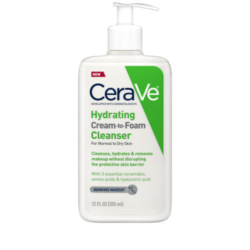 Cerave - Hydrating Cream-to-Foam Cleanser with Hyaluronic Acid, Fragrance Free (355ml)