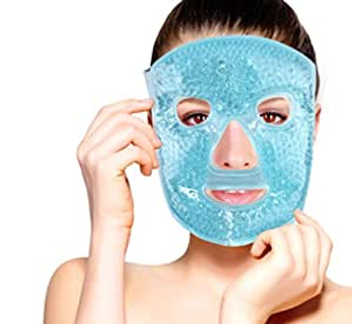 Fomi Care - Hot and Cold Therapy Gel Bead Full Facial Mask - for Migraine Headache, Stress Relief