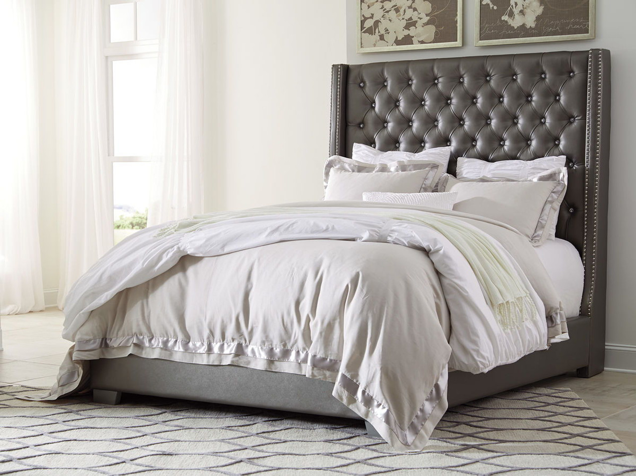 The Coralayne Gray Queen Upholstered Bed Available At Parlins Home Furnishings Serving Sturgis Mi