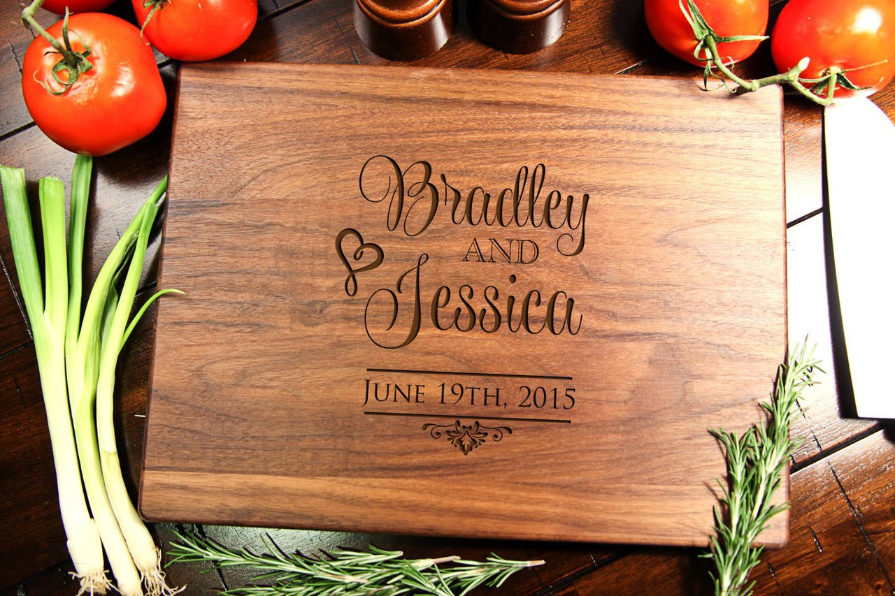 Walnut Personalized Cutting Board ~ Stacked Names
