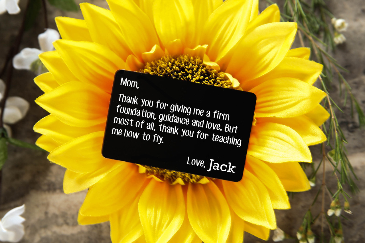 Personalized Wallet Card- Teaching Me to Fly Mom