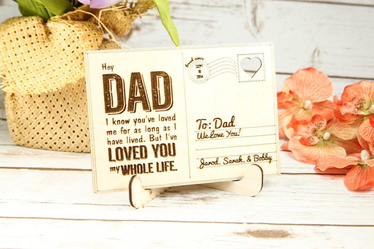 Personalized Wood Standing Post Card - Dad