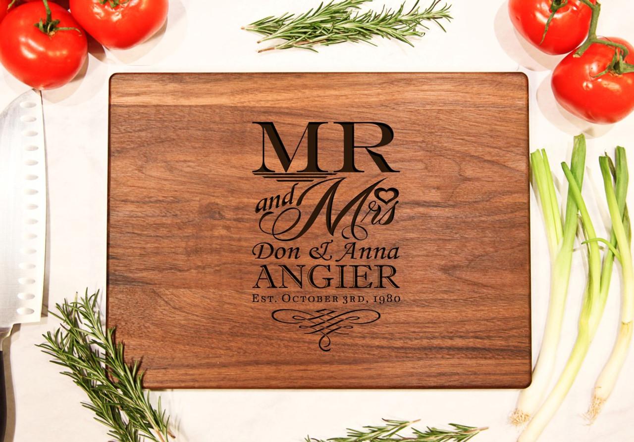 Walnut Personalized Cutting Board ~ Mr & Mrs Stacked