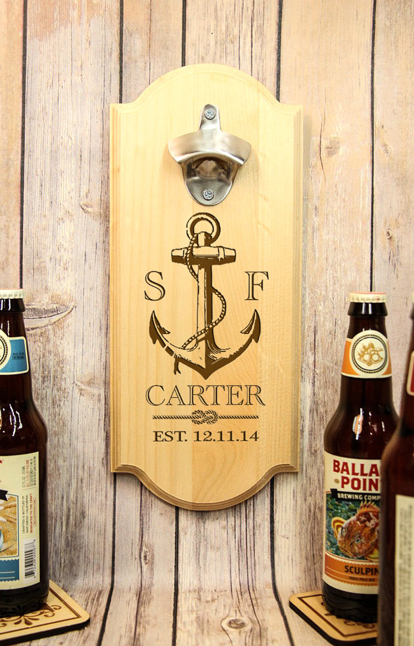 Personalized Wall Mount Bottle Opener - Anchor