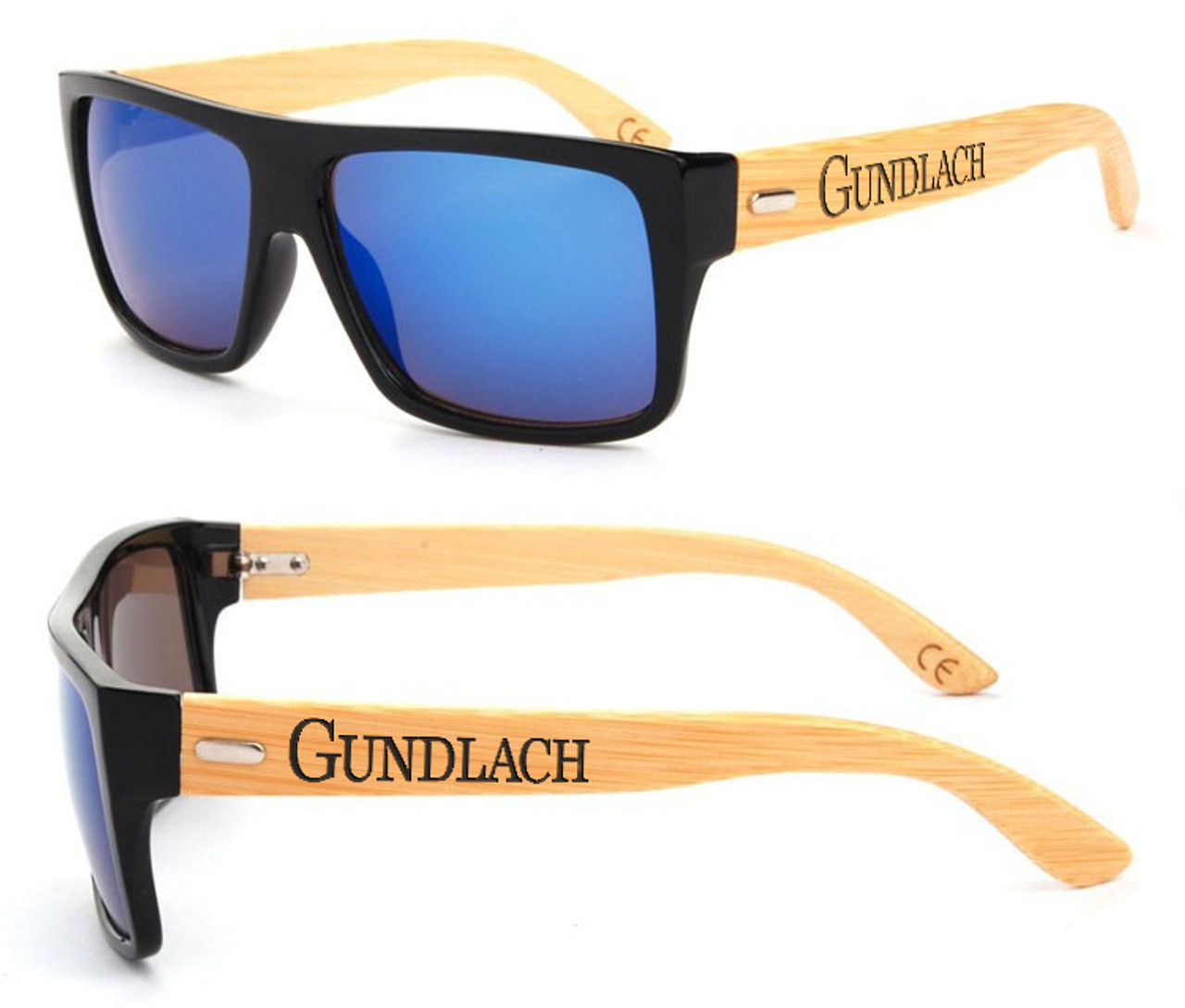 Personalized Bamboo Sunglasses - Color Frame Name Blue