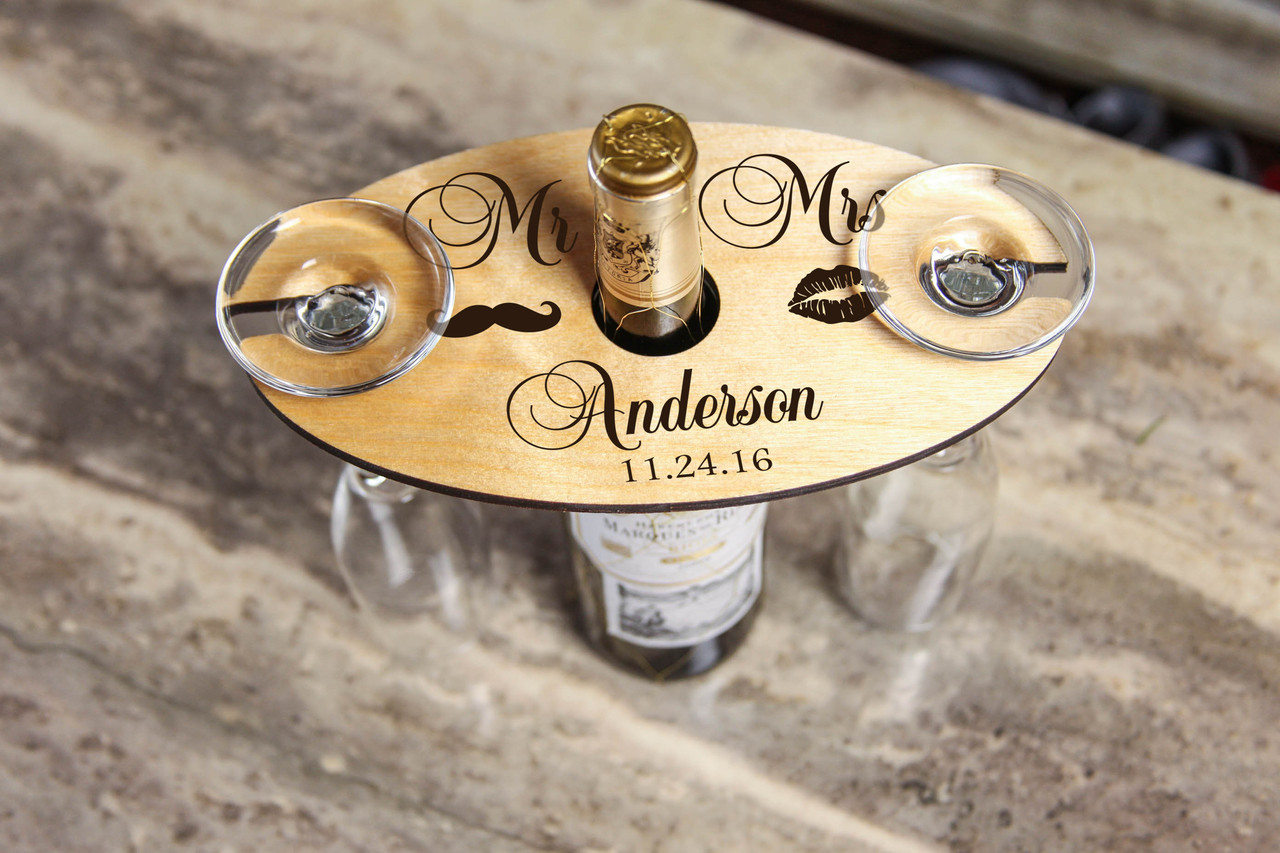 Personalized Wine Caddy & Glass holder - Mr & Mrs