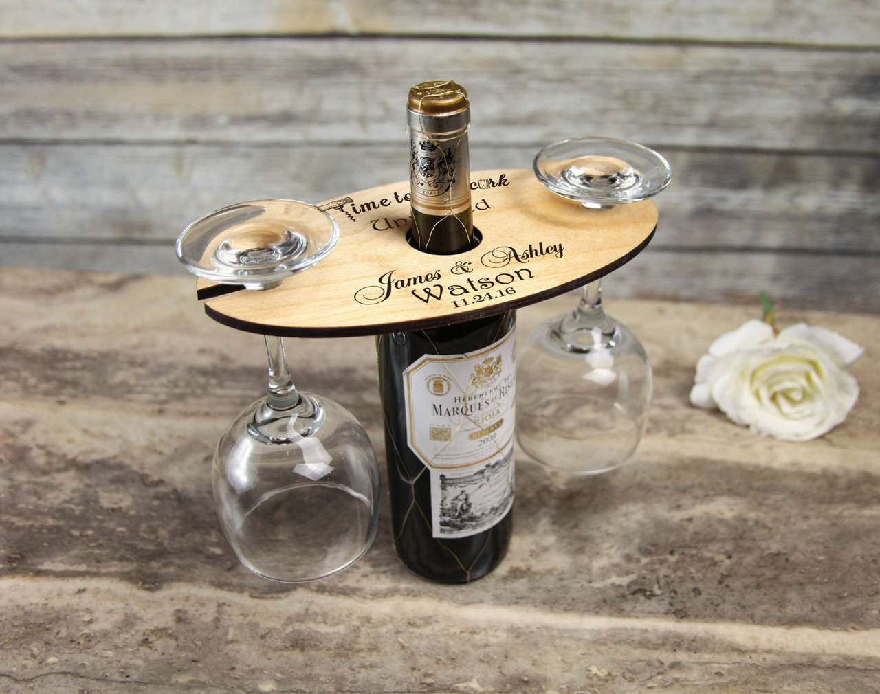 Personalized Wine Caddy & Glass Holder - Uncork & Unwined