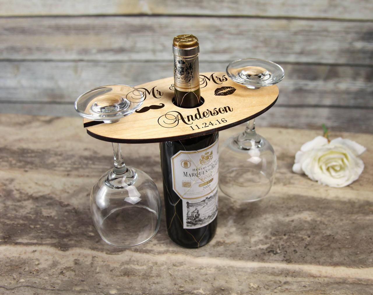 Groupon AU/NZ - Personalized Wine Caddy & Glass holder - Mr & Mrs