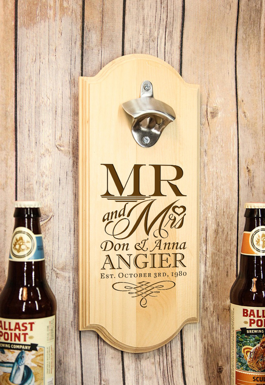 Groupon AU/NZ - Personalized Wall Mount Bottle Opener - Mr & Mrs