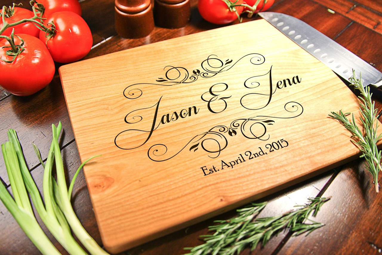 Cherry Personalized Cutting Board ~ Calligraphy Couple