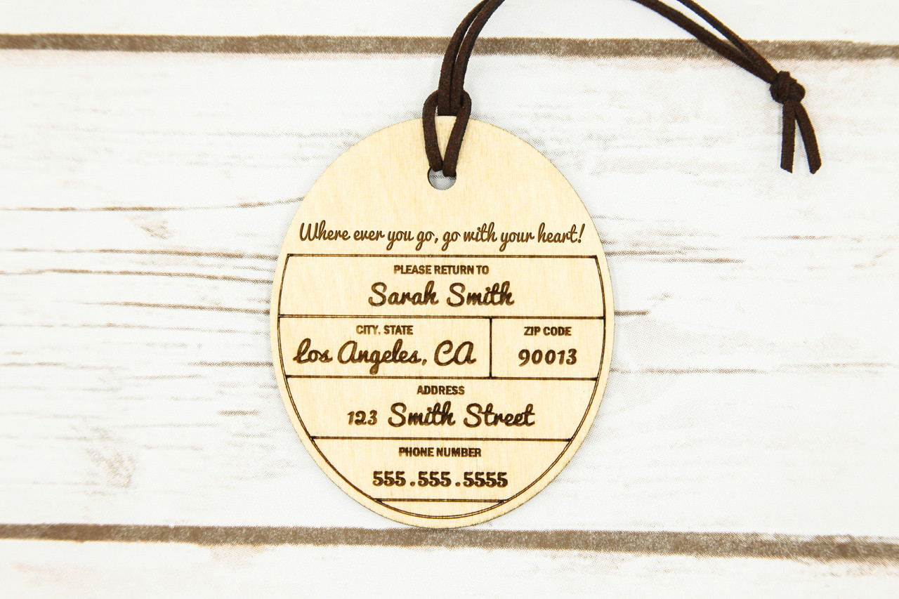 LUX - Personalized wood luggage tag -Cirque