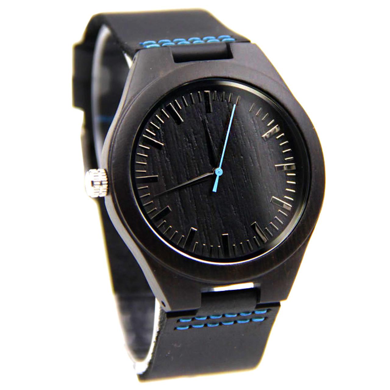 Grpn - Wood Engraved Watch W#83 - Midnight
