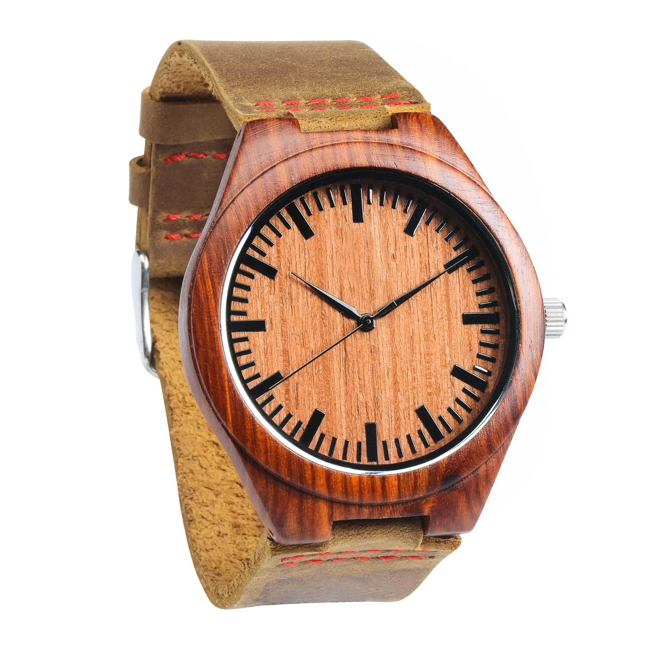 Grpn - Wood Engraved Watch W#59 - Garnet
