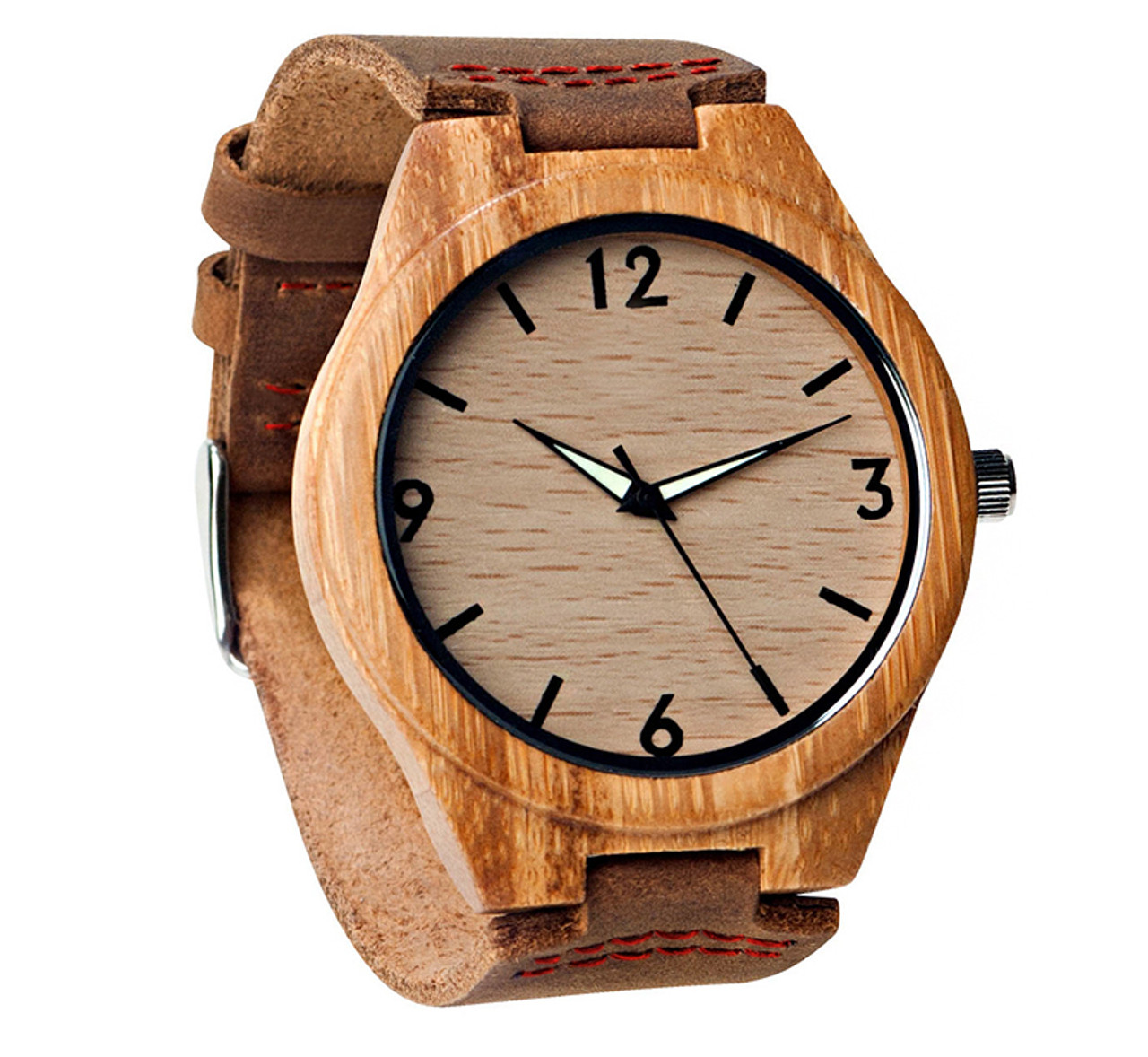 Grpn - Wood Engraved Watch Glow Dials W#68 - Aura