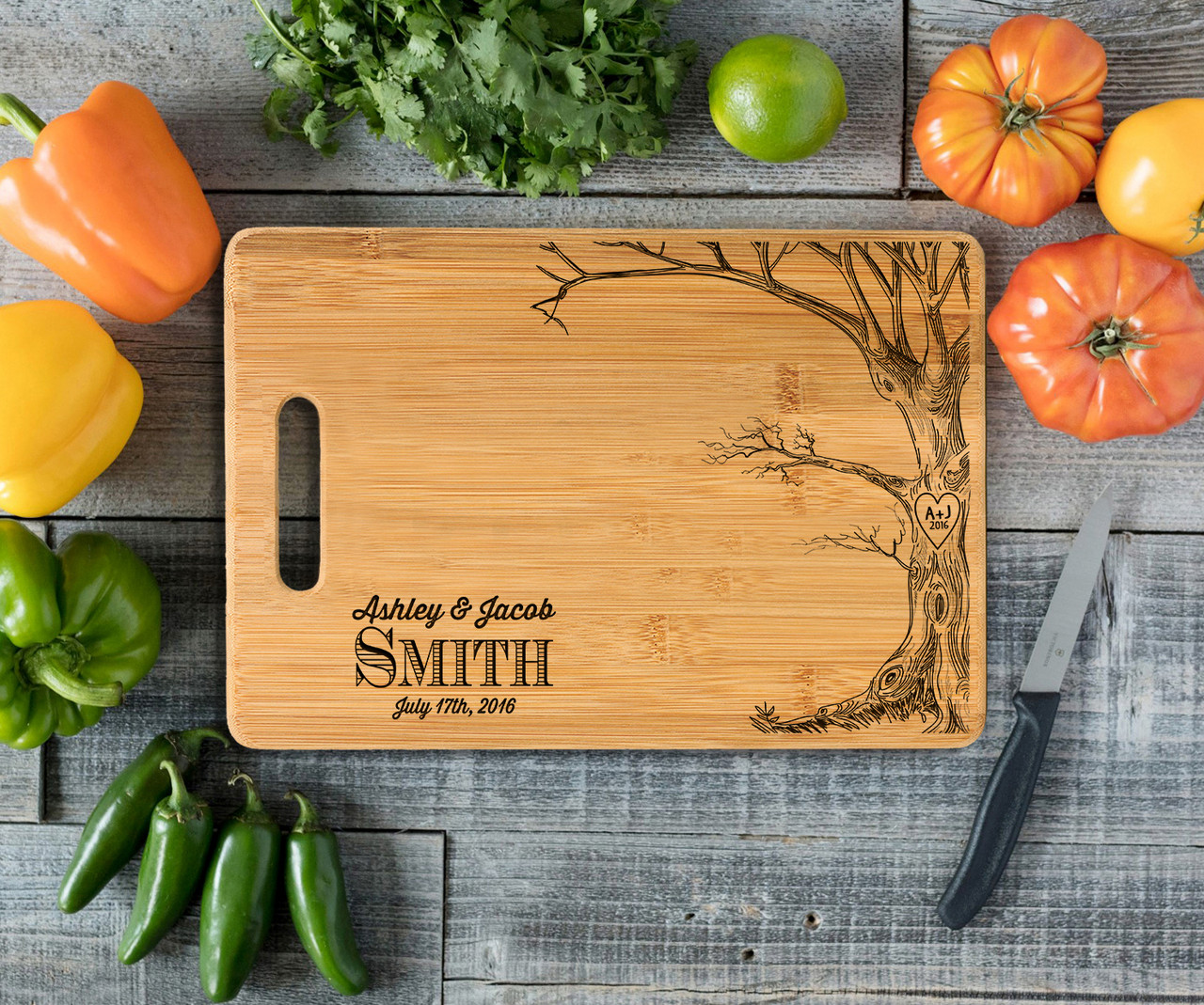 Handle Love Tree w/Names Personalized Cutting Board