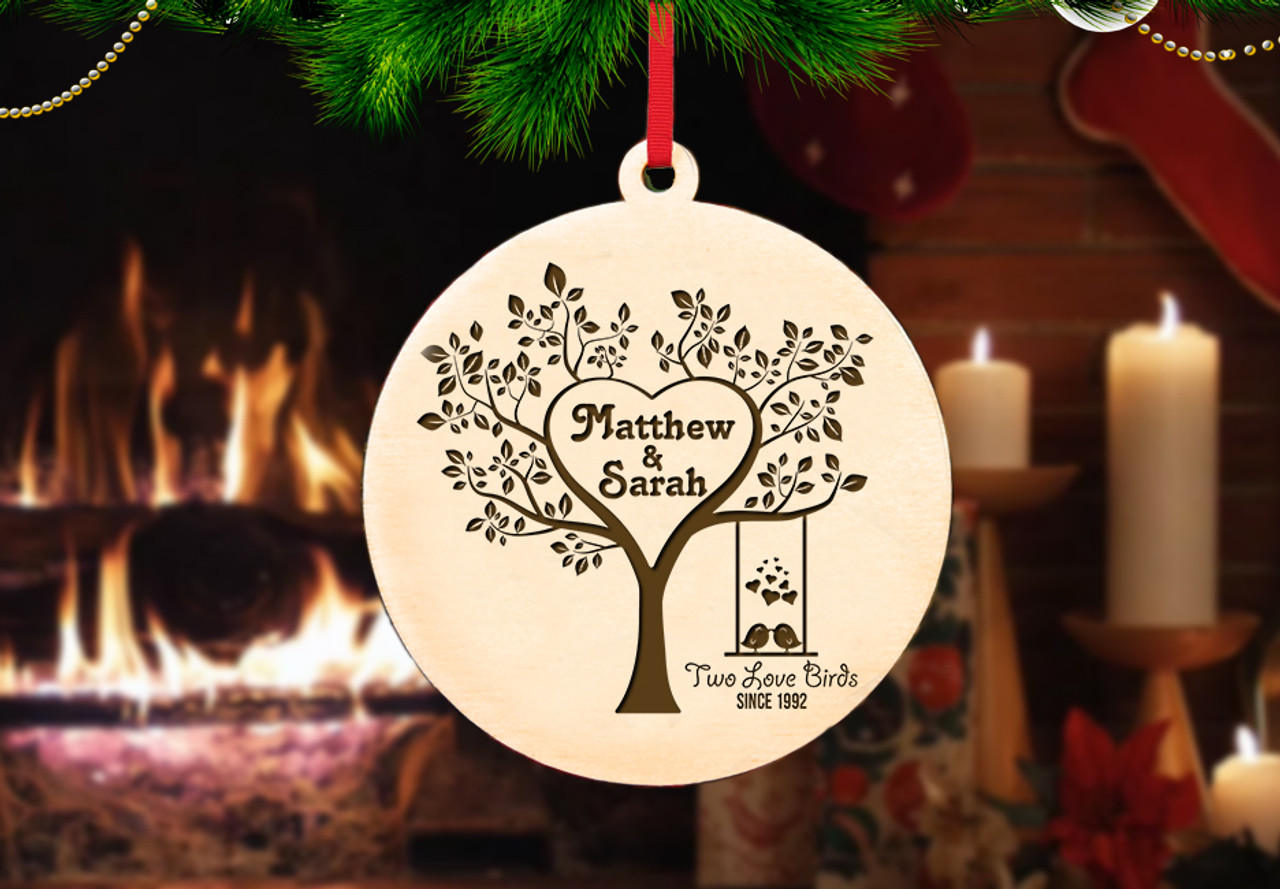 Personalized Christmas Ornament - Two Love Birds