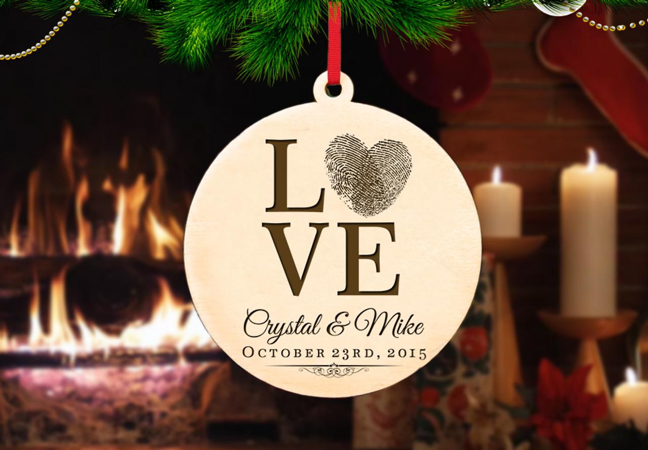 Personalized Christmas Ornament - Love Fingerprint