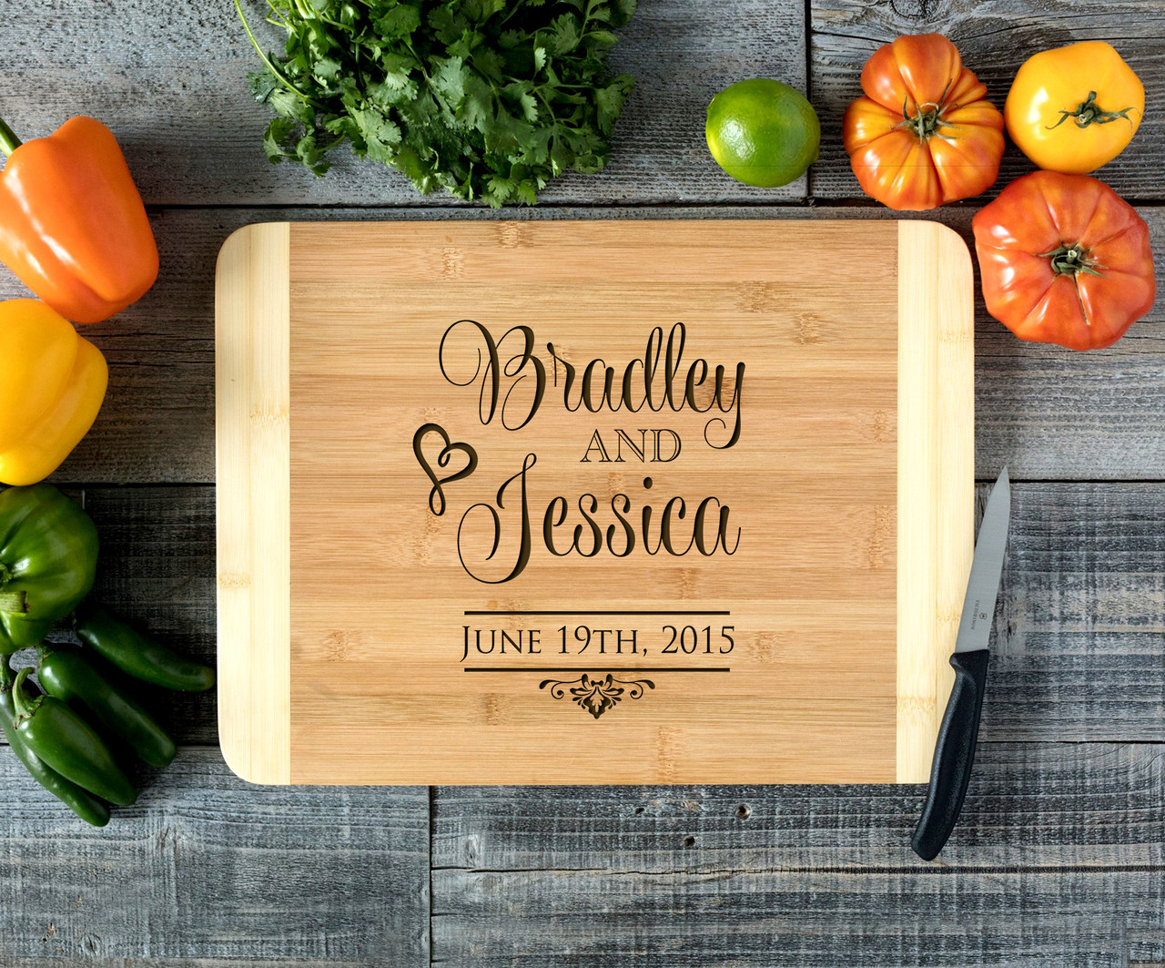 Stacked Couple Name Personalized Cutting Board HDS