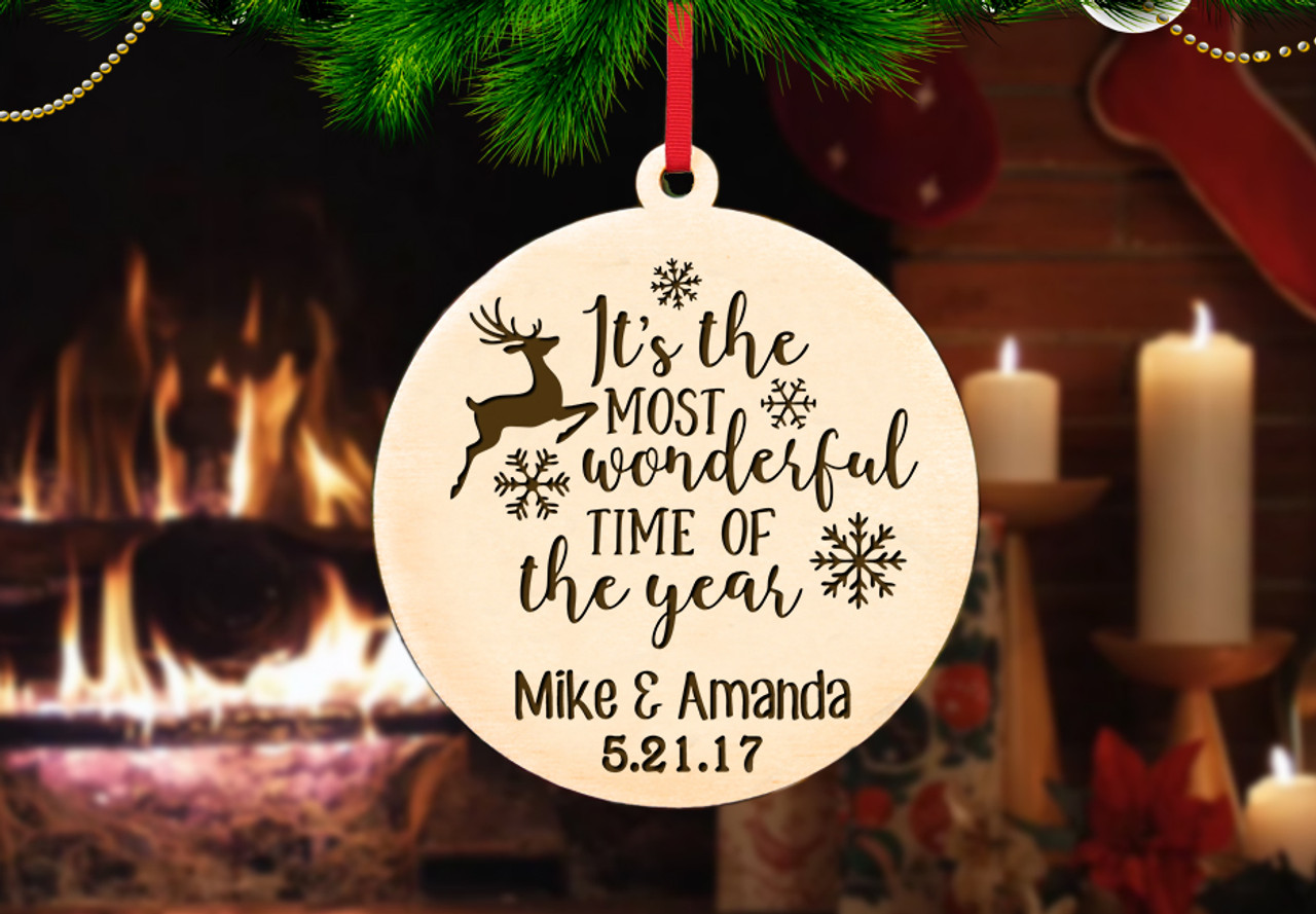 Personalized Christmas Ornament - Most Wonderful Time of the Year