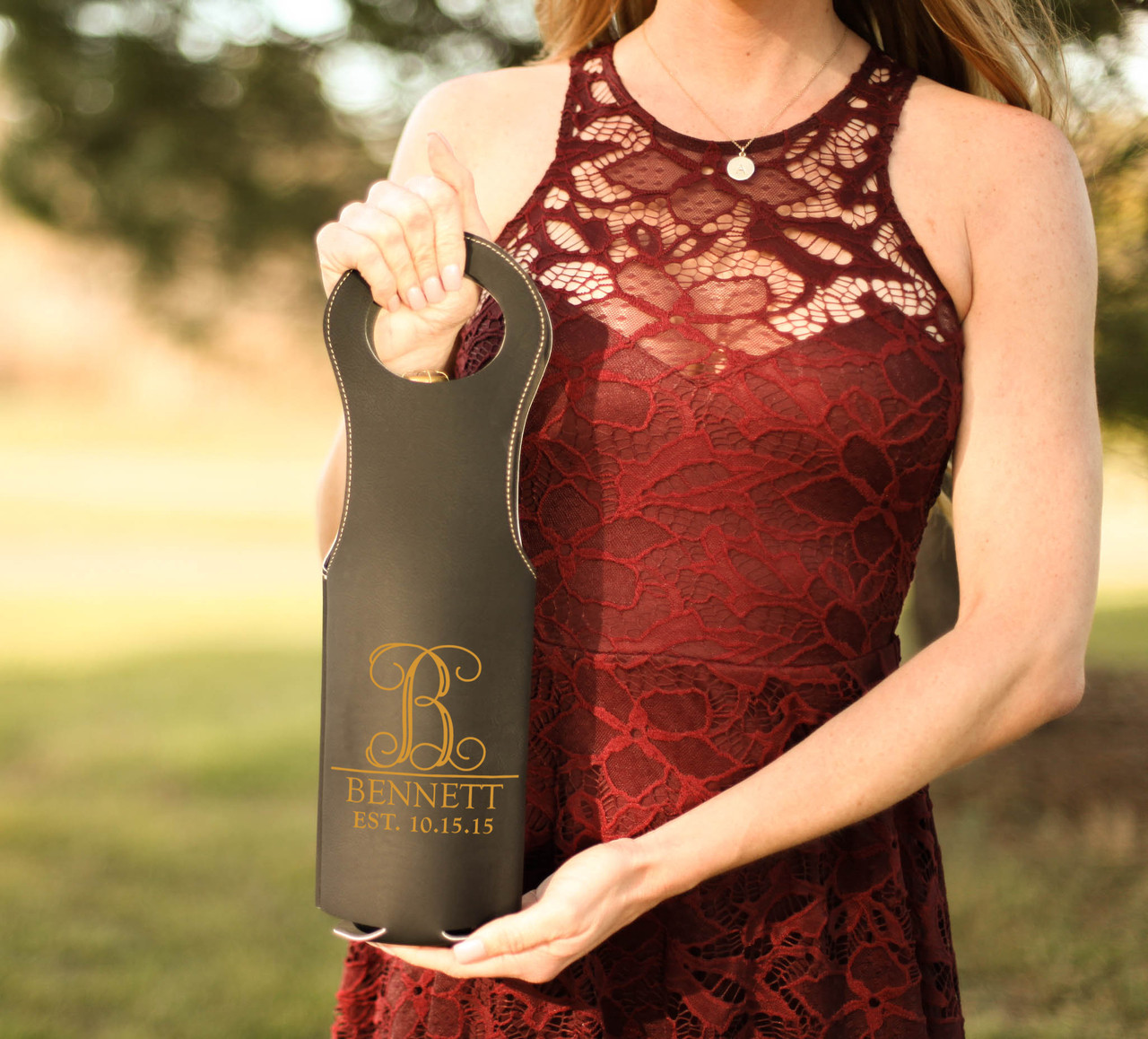 Leather Bottle Tote Bag - Vine Initial