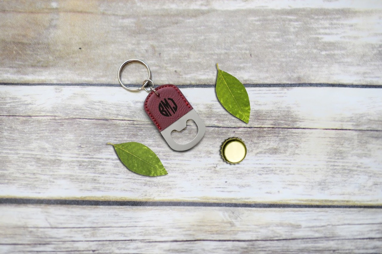 Personalized Leather Key Chain Bottle Opener - Circle Monogram