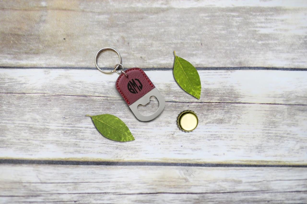 Personalized Leather Key Chain Bottle Opener - Circle Monogram