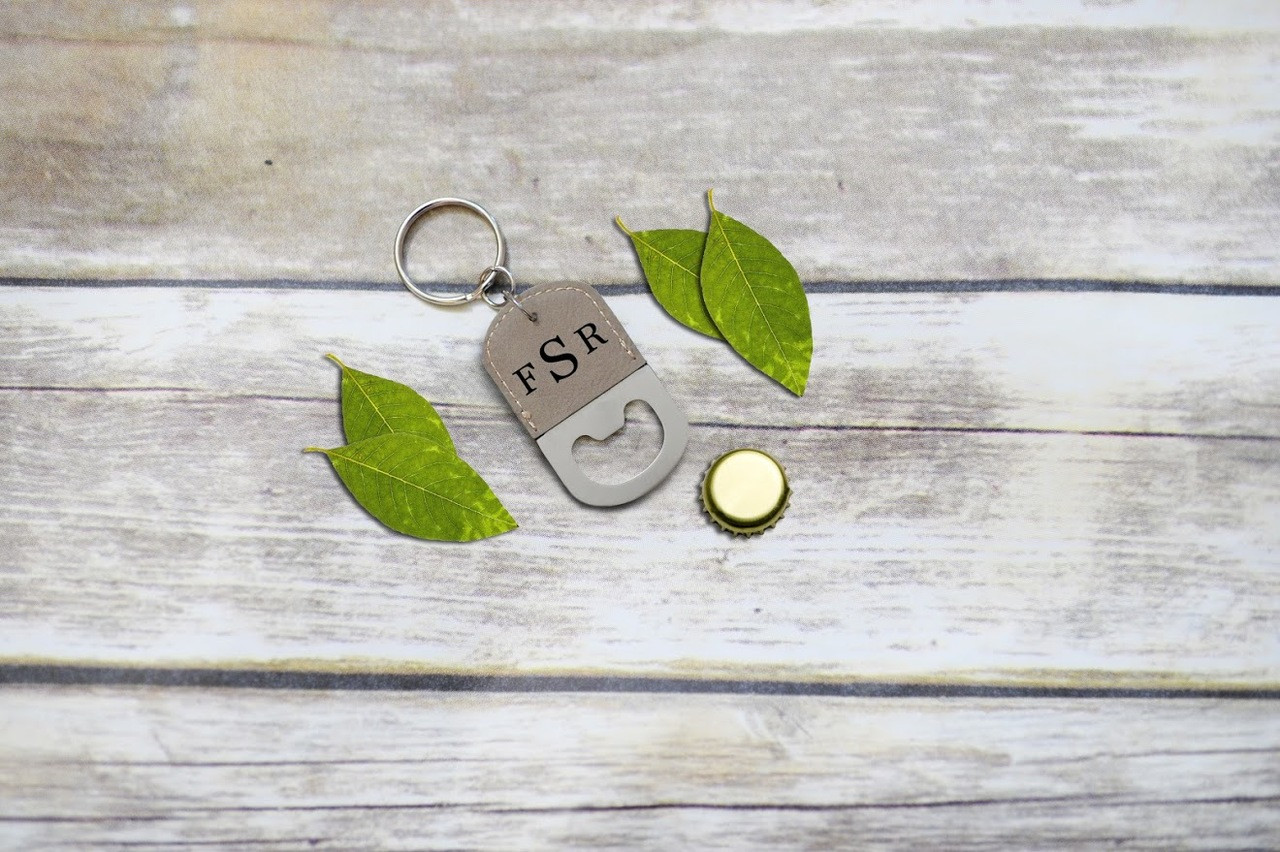 Personalized Leather Key Chain Bottle Opener - Masculine Monogram