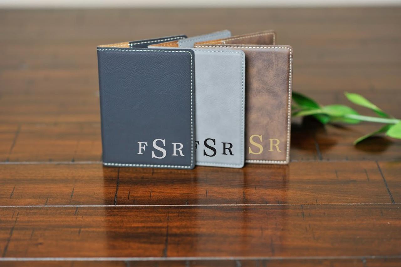Personalized Leather Passport Wallet Holder -Corner Masculine Monogram