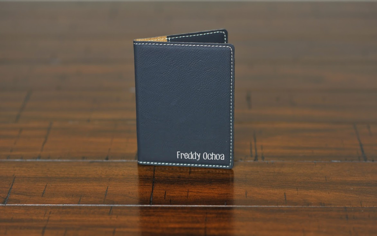 Personalized Leather Passport Wallet Holder -Corner Name