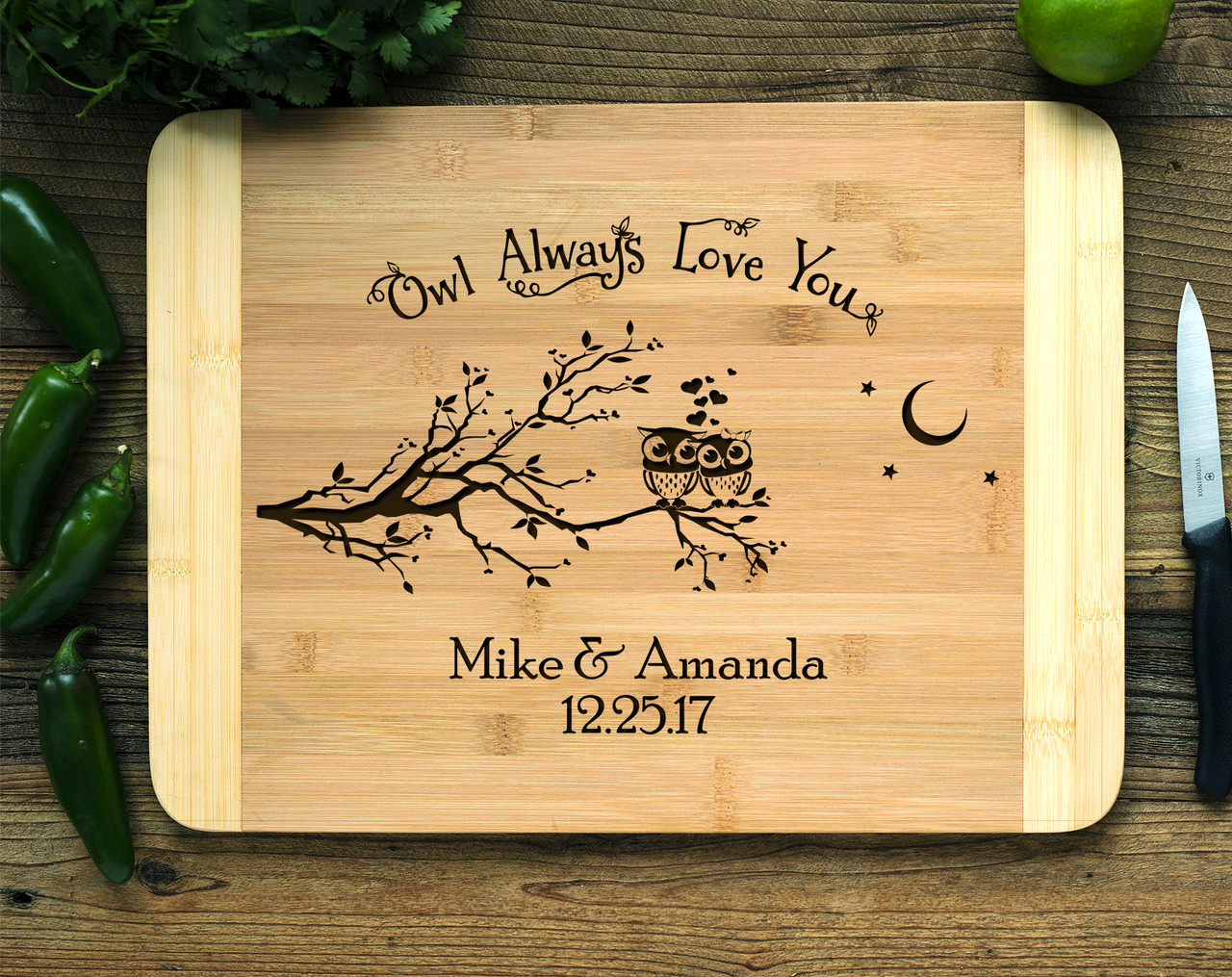 Owl Love you Personalized Cutting Board HDS